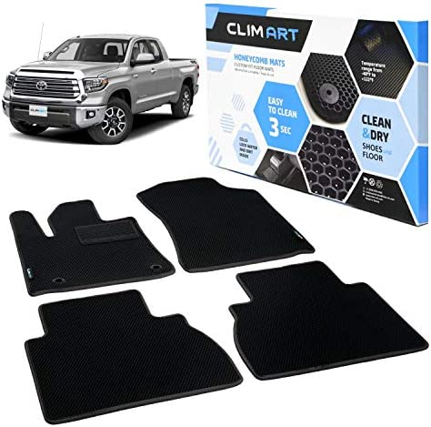 CLIM ART Honeycomb Custom Fit Floor Mats for Toyota Tundra 2012-2021 Double Cab, 1&2 Row, Car Mats Floor Liner, All-Weather, Car Accessories Man & Woman, Black/Black – FL011407065