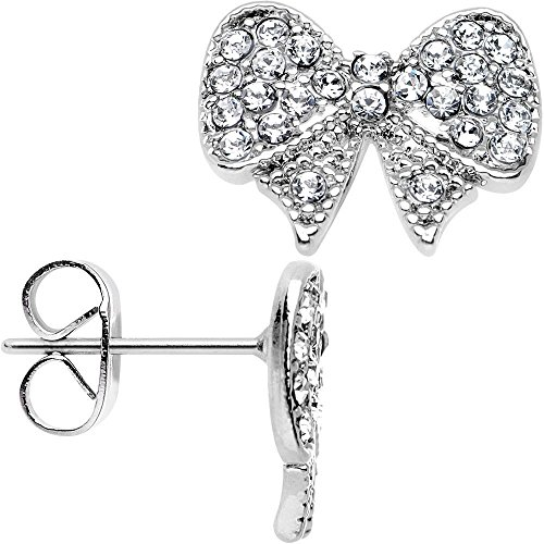 Stainless Steel Post Clear Encrusted Bow Stud Earrings