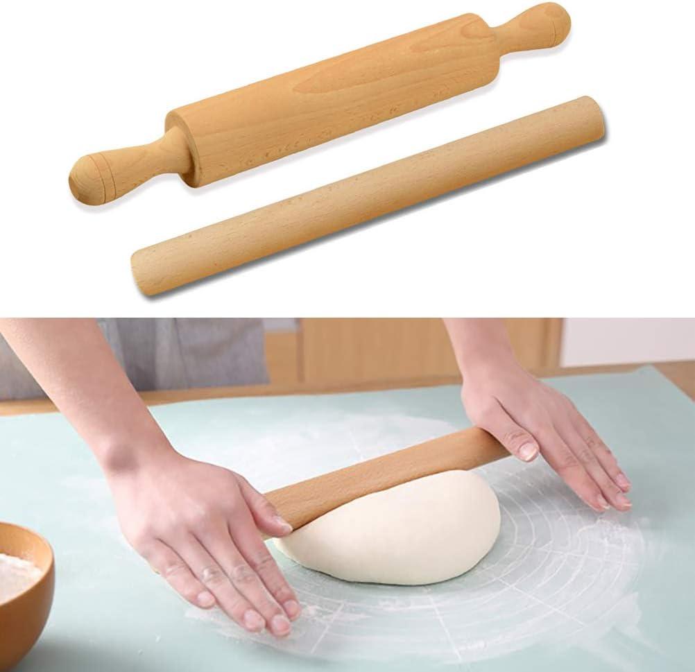 Madera de haya. Calayu Rodillo de amasar a madera de haya, antiadherente, para pizza 28 * 3.2cm
