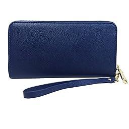 Womens RFID Blocking Wallet Classic Clutch Leather Long Wallet Card Holder Purse Handbag