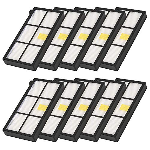 Filter High Efficiency Replacement - isinlive Vacuum Cleaner HEPA Filter Compatible iRobot Roomba 800 900 Series - 980 880 860 870 960 891, 10-Pack for iRobot Parts Filter Replacement