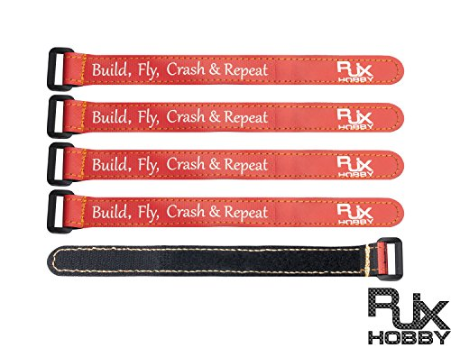 - RJX 5Pcs High Strength Non-Slip Magic Tape Battery Straps 250mmx20mm for RC Racing Drone Orange