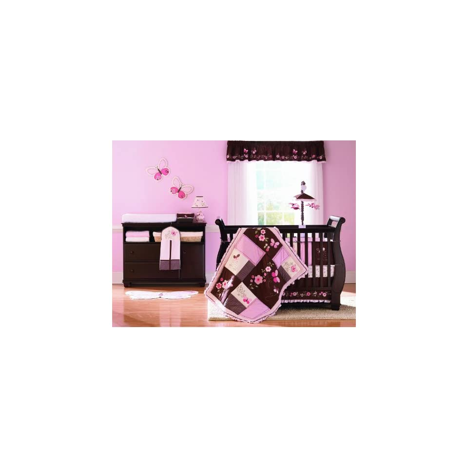 Pink and Chocolate Brown Teddy Bear Baby Girls Bedding 9pc Crib Set