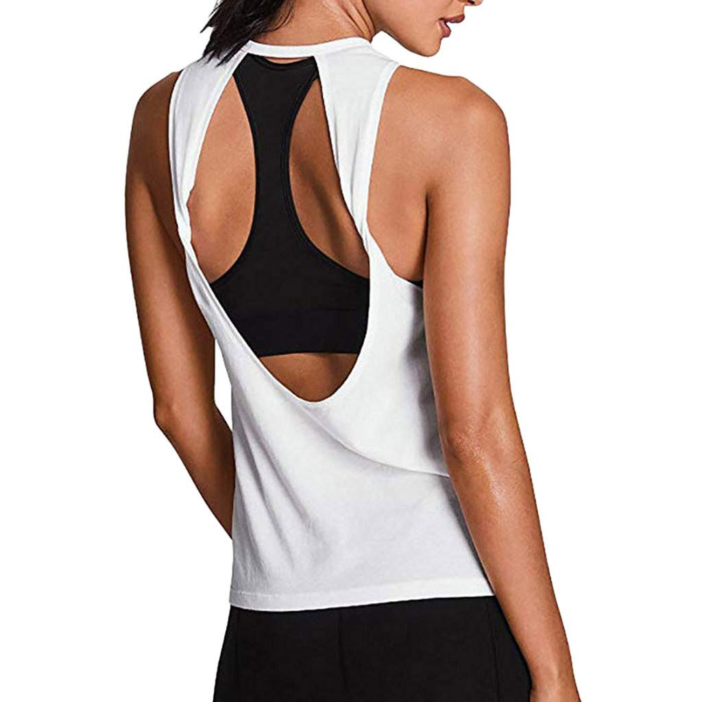 Womens Camisole Tank Tops Ladies Yoga Open Back Sleeveless T Shirt Workout Racerback Tees Cami Vest Blouse 2019