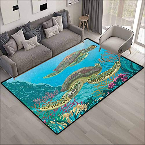 Kids Rug,Sea Animals Illustration of Two Sea Turtles Swimming Underwater Aquatic Wildlife Colorful,Ideal Gift for Children,6'6