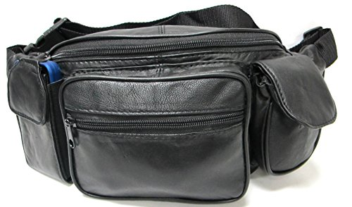 Deluxe Fanny Pack - Deluxe Jumbo Size Genuine Leather Waist Pack Soft Light Weight w/Organizer - Black