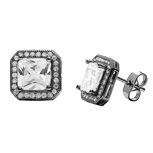 Cate & Chloe Londyn 18k Gold Plated Princess Cut CZ Halo Stud Earrings, Sparkling Cluster Stud Earring Set with Solitaire Princess Gemstone, Wedding Anniversary Jewelry MSRP - $150