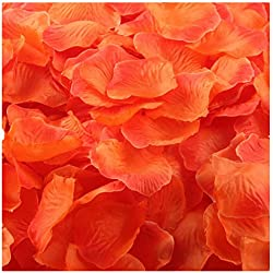 Outtop 1000pcs Multicolor Silk Rose Artificial Petals Wedding Party Flower Favors Decor (Orange)