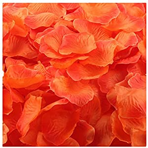 Outtop 1000pcs Multicolor Silk Rose Artificial Petals Wedding Party Flower Favors Decor (Orange) 40
