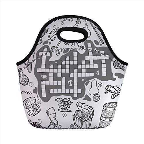 Word Search Puzzle,Colorless Pirates Themed Educational Puzzle Treasure Map and Icons,Grey Black White,for Kids Adult Thermal Insulated Tote Bags