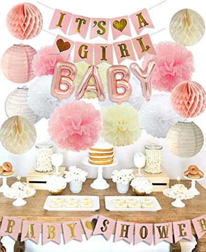 Girl Baby Shower (Girls Baby Shower Party Decorations It's A Girl Baby Shower Decorations Kit with It's A Girl Banner Tissue Paper Pompoms Lanterns Honeycomb)