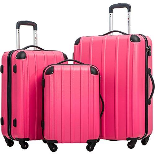 Merax Travelhouse 3 Piece Spinner Luggage Set with TSA Lock (Rose & Black) by Merax