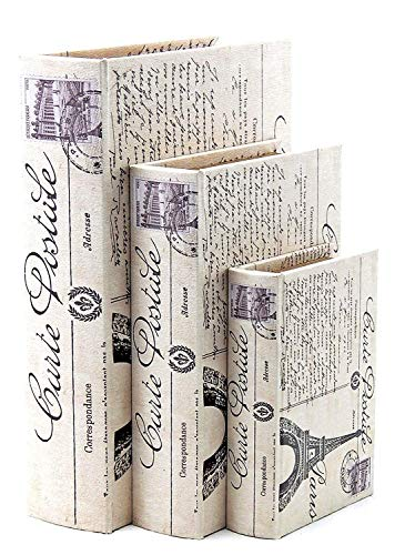 Bellaa 28069 Paris Book Box Eiffel Tower Set of 3 (Jewelry Chest Sale For)