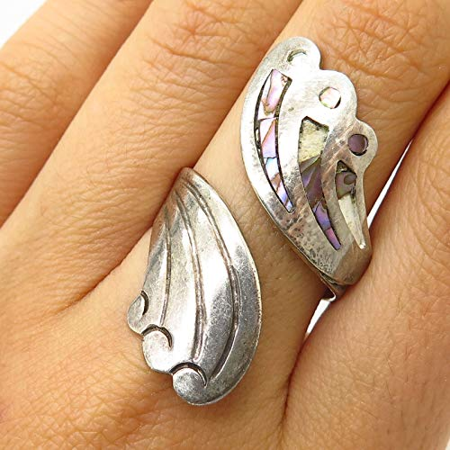 VTG Mexico Signed 925 Sterling Silver Abalone Bypass Adjustable Wide Ring Size 8 Jewelry by Wholesale Charms