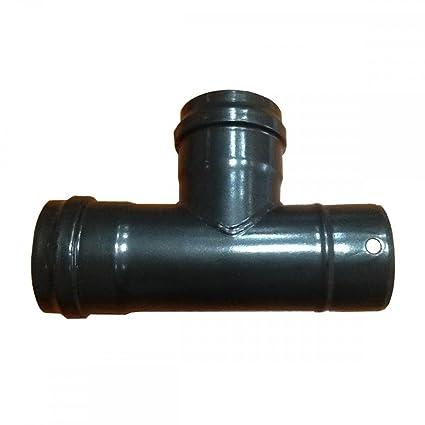 Unión en T de conexión para tubo de estufa de pellets negro