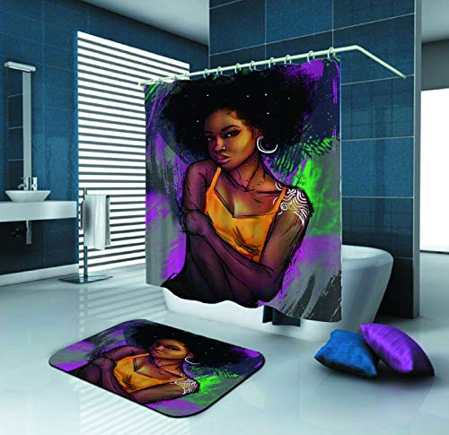 SARA NELL Shower Curtain Black Art African American Women Angry Face Bath Curtain 72X72In Mildew Resistant Polyester Shower Curtains Set 15.7X23.6In Flannel Non-Slip Floor Doormat Bath Rugs ()