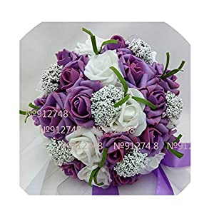 WodCht Beautiful Bouquet Artificial Foam Flowers Foam Roses for Wedding Arrangement Bridal Bouquet Wedding Bouquets 14