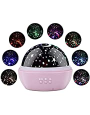 SlowTon Starry Night Light Projector, LED Lamp Star Moon Projector Rotating Night Light Sleep Soother for Baby Kids Bedroom Decoration Ideal Gift with Ocean Undersea Projection Film 8 Colors Mode