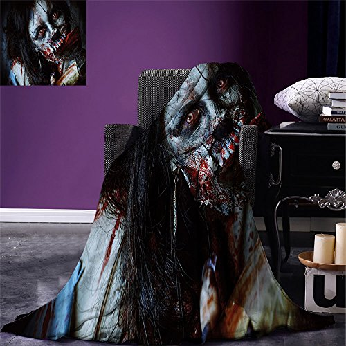 smallbeefly Zombie Decor Throw Blanket Scary Dead Woman with Bloody Axe Evil Fantasy Gothic Mystery Halloween Picture Warm Microfiber All Season Blanket for Bed or Couch Multicolor]()