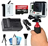 AHDBT401 AHDBT-401 High Capacity Battery + Home Wall & Travel Car Charger + 64GB MicroSD Memory Card + Action Stabilizer Handle + Dust Removal Cleaning Kit for GoPro HERO4 Hero 4 Black Silver