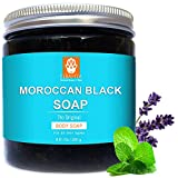 2 in 1 Pack Moroccan Black Soap & Free Exfoliating Body Scrub Mitt Glove. Made with Olivate, Essential Oils Eucalyptus, Lavender and Mint. Organic Soap For Deep Cleansing and a healthy Skin 250g
