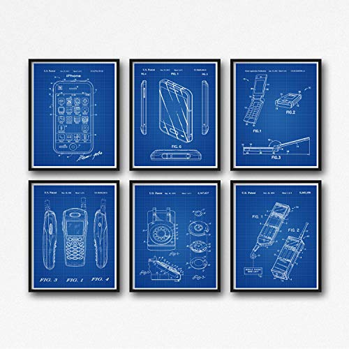 Wallbuddy Phone Patent Prints Set of Phone Posters Apple iPhone Samsung Rotary Phone Nokia Mobile Phone Motorola Razor V3 Portable Telephone WB078 (18 x 24, Blueprint Grid)