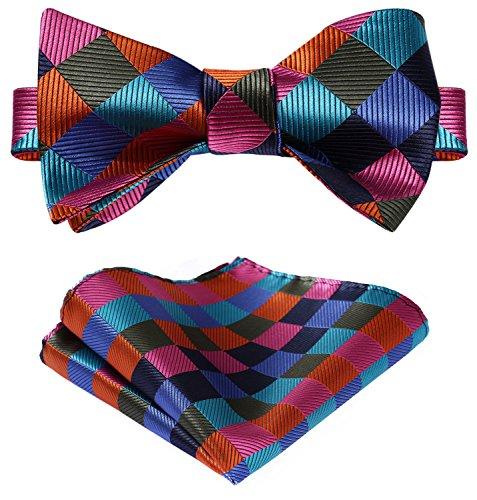 HISDERN Men's Plaid Jacquard Woven Self Bow Tie Set