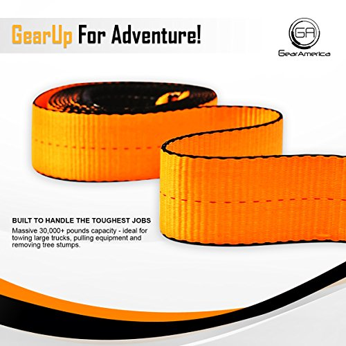 Heavy-Duty Tree Saver Winch Strap | Off-Road Towing and Recovery Rope for Truck, Jeep and SUV | Attach Hook or D-Ring Shackle to Pull Stuck Vehicle | Lab-Tested 35,000 lbs | BONUS Storage Bag by GearAmerica (Image #5)