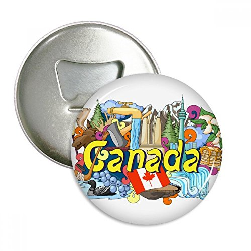 Rocky Mountains CN Tower Maple Canada Round Bottle Opener Refrigerator Magnet Badge Button 3pcs Gift