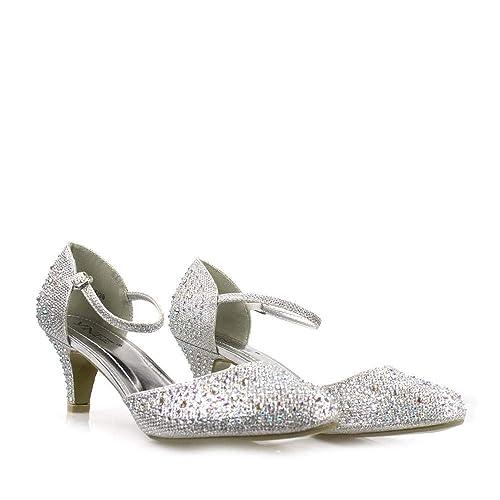 72938b6c856 Miss Diva S30392 Low Kitten Heel Ankle Strap Diamante Shoe: Amazon ...