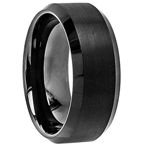 8mm Black High Polish Tungsten Carbide Men's Wedding Band Ring in Comfort Fit and Matte Finish Sizes 6-16 (7)