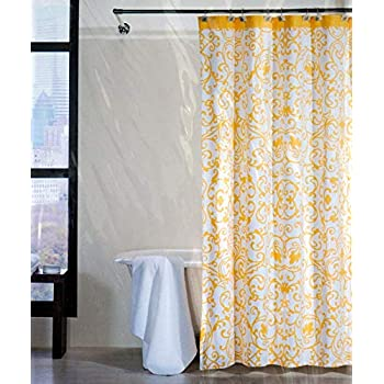 tahari large scroll grey yellow off white fabric shower curtain home kitchen. Black Bedroom Furniture Sets. Home Design Ideas