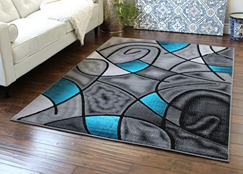 Masada Rugs, Modern Contemporary Area Rug, Turquoise Grey Black (8 Feet X 10 Feet) (Shabby Indonesia Chic Furniture)