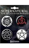 mens supernatural merchandise - Ata-Boy Supernatural Runes Assortment #1 Set of 4 1.25