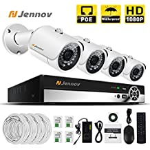 Jennov PoE CCTV Security NVR System 4 Channel 1080P Surveillance IP Network Camera HD Night Vision Outdoor Indoor, Power OVer Ethernet, Motion Detection, Mobilephone Remote View (No Hard Drive)