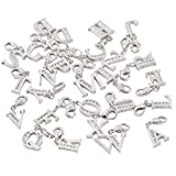 Lobster Clasp Clip On Initial Charms Dangle Cubic Zirconia Letter Q, White Gold Plating