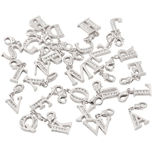 Lobster Clasp Clip On Initial Charms Dangle Cubic Zirconia Letter N, White Gold Plating