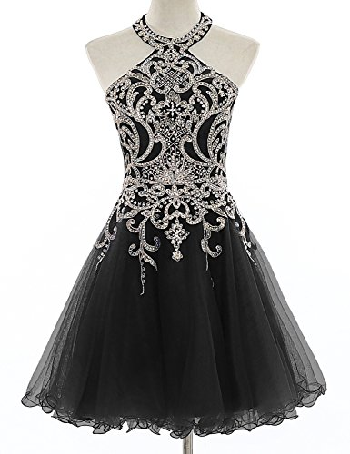 Aurora Prom Gown (Aurora Bridal Women's Halter Beaded Homecoming Dresses 2018 Short Tulle Prom Gown Size 6 Black)