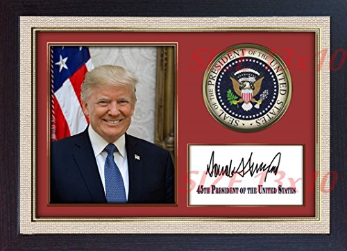 S&E DESING Donald Trump 45th President USA Autograph Print Signed Photo Picture Framed MDF ()