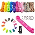 UCEC Parachute Cord Jig Bracelet Wristband Plastic Maker Loom - Paracord Braiding Weaving DIY Craft Tool Kit - 12 Rainbow Color Cord and Buckles