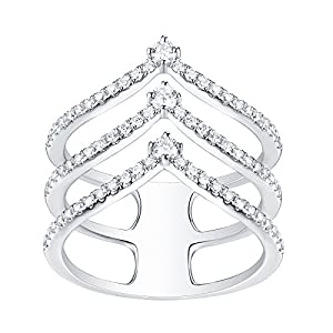 Beautiful 0.59 Carat Natural G-H/SI1 Round Diamond Designer Ring, 10k White Gold Size 6.5