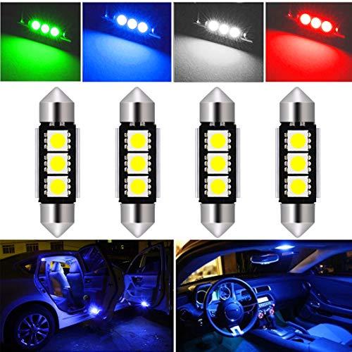 (Botepon 4Pcs DE3423 6418 6411 LED Festoon Bulb 36mm 5050 3SMD Canbus Error For Car Interior Dome/Map/Trunk/License Plate Light Blue)