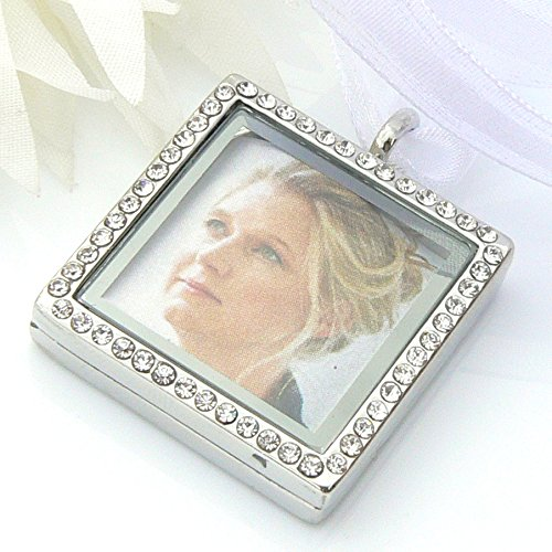 (Crystal Picture Frame Bouquet Charm - Memory Locket - Brides Keepsake)