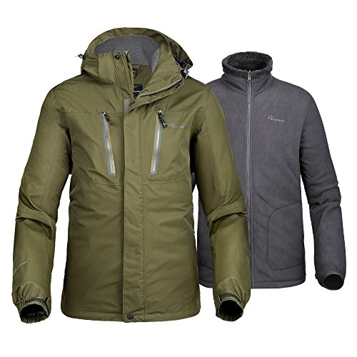 OutdoorMaster Men's 3-in-1 Ski Jacket - Winter Jacket Set with Fleece Liner Jacket & Hooded Waterproof Shell - for Men (Olive Green,M)