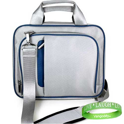 Apple MacBook Pro MC374LL/A 13.3-Inch Sliver & Blue Laptop Carrying Case with Shoulder Strap & Organization Pockets + VG LIVE LAUGH LOVE Wrist Band by Kroo