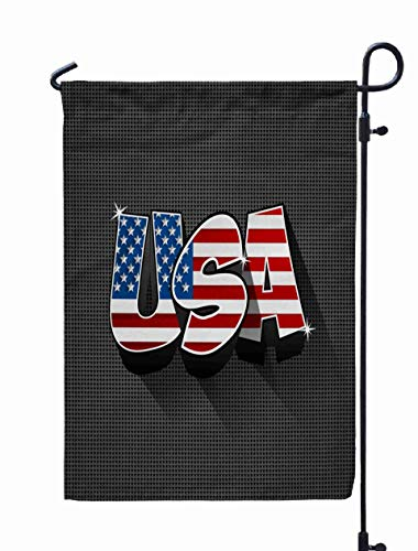 Shorping Decorative Outdoor Garden Flag, 12x18Inch USA Flag Text on Background Vector Illustration for Holiday and Seasonal Double-Sided Printing Yards Flags -