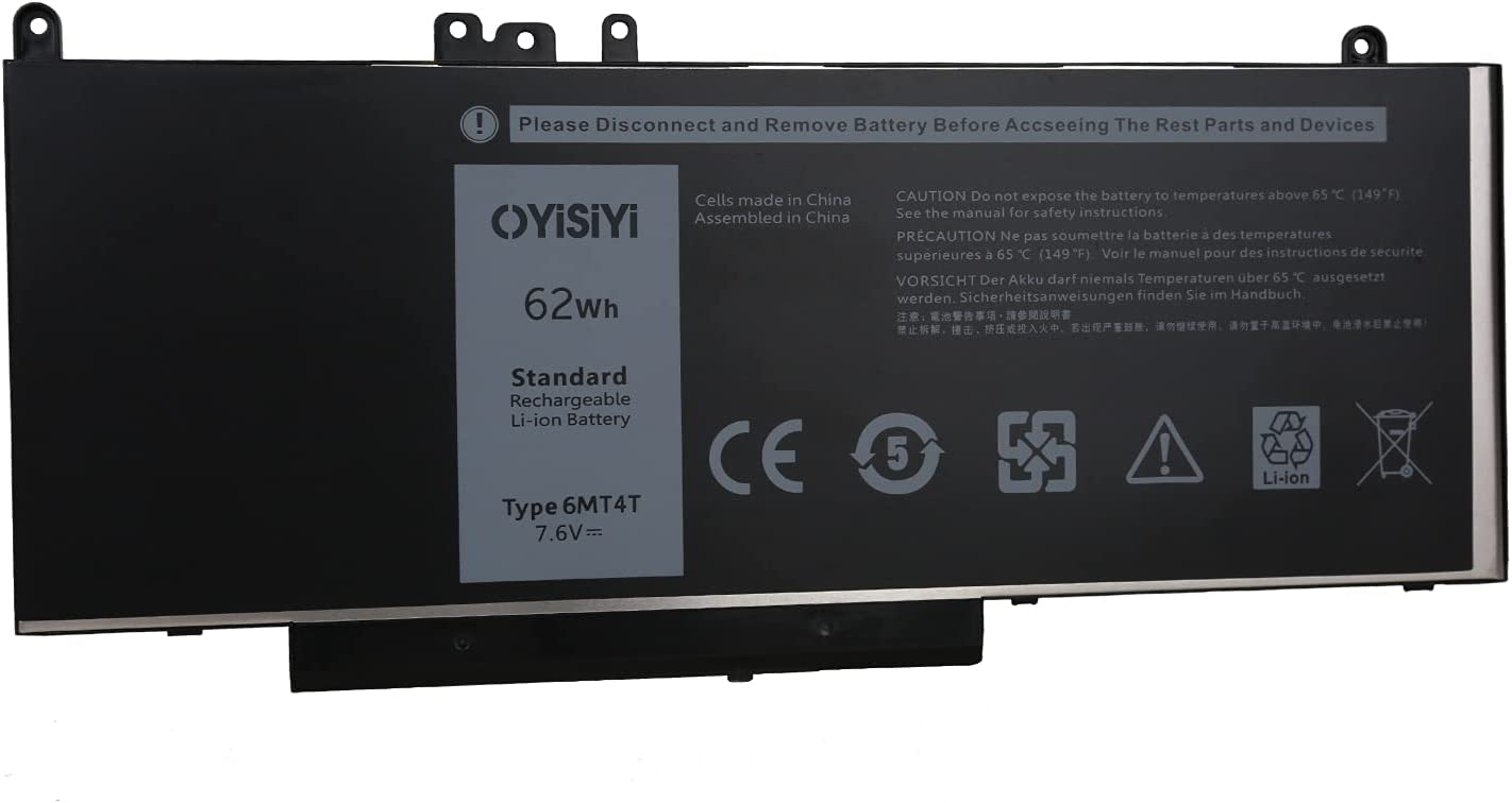 OYISIYI 6MT4T Laptop Battery for Dell Latitude 14 5470 E5470 155570 E5570 Precision 15 3510 M3510 7V69Y TXF9M 79VRK 07V69Y 0HK6DV 079VRK 0TXF9M 7.6V 62Wh