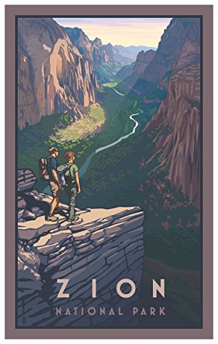 - Zion Canyon, Zion National Park Travel Art Print Poster by Paul Leighton (12