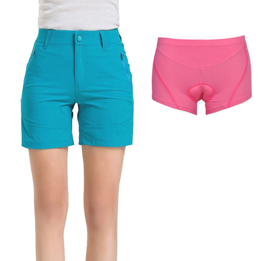 Urban Cycling Apparel SHORTS レディース B07CRSNPZY Small|Light Blue With Padded Underliner Light Blue With Padded Underliner Small