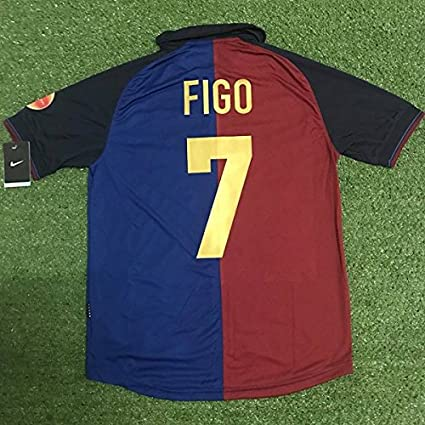 670e3912a Amazon.com   Retro FIGO 7 Barcelona Home Soccer Jersey   Sports ...